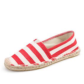 voordelige Damesinstappers & loafers-Dames Loafers & Slip-Ons Platte hak Ronde Teen Canvas minimalisme Lente zomer Zwart / Rood / Blauw / Gestreept