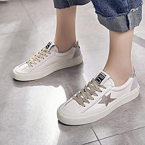 voordelige Damessneakers-Dames Sneakers Platte hak Ronde Teen PU Studentikoos Wandelen Zomer Zwart / Wit / Goud