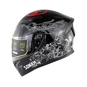 billige Nyankomne i august-soman motorsykkel sykkelhjelm dobbel linse motorsykkel hel ansikt hjelm ece godkjenning sm960
