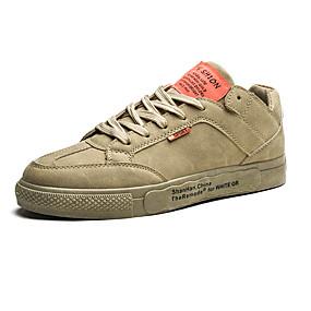 baratos Tênis Masculino-Homens Sapatos Confortáveis Couro Ecológico Outono Casual Tênis Não escorregar Preto / Branco / Khaki