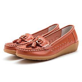 voordelige Damesschoenen met platte hak-Dames Platte schoenen Platte hak Ronde Teen PU Informeel Lente zomer Wit / Oranje / Geel