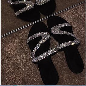 cheap Pre Sale-Women's Sandals Flat Heel Round Toe Rhinestone PU(Polyurethane) Summer Black