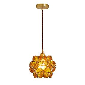 abordables Plafonniers-ZHISHU Globe Lampe suspendue Lumière dirigée vers le bas Plaqué Finitions Peintes Cuivre Verre LED, Contrôle WIFI 110-120V / 220-240V Blanc Crème / Blanc / Wi-Fi intelligent