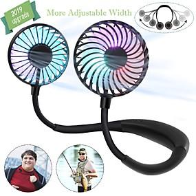 """Недорогие """"Умный"""" свет-1 шт. Мини-USB персональный вентилятор - перезаряжаемый портативный дизайн наушников, носимый вентилятор с шейным ободом3 уровень воздушного потока7 светодиодные фонари360 градусов свободного вращения"""