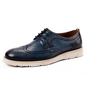 baratos Oxfords Masculinos-Homens Sapatos Confortáveis Couro Primavera Oxfords Preto / Marron / Azul Escuro