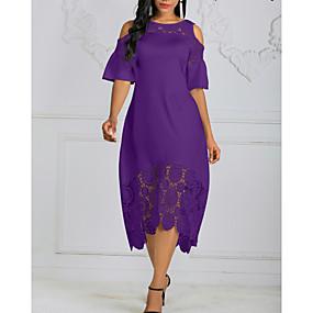 cheap US Explore Autumn Low-Key luxe-Women's Plus Size Asymmetrical A Line Dress - Solid Colored Lace Black White Purple XL XXL XXXL XXXXL