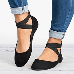 voordelige Damesschoenen met platte hak-Dames Platte schoenen Platte hak Ronde Teen Microvezel Zomer Zwart / Luipaard / Goud