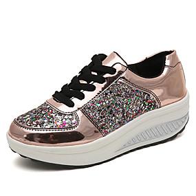 voordelige Damessneakers-Dames Sneakers Platte hak Ronde Teen Pailletten Lakleer / PU Brits Wandelen Lente / Herfst winter Wit / Lichtbruin / Zilver / Kleurenblok