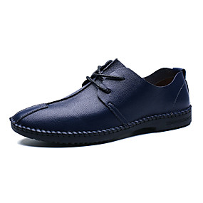 baratos Oxfords Masculinos-Homens Sapatos Confortáveis Couro Ecológico Verão Oxfords Preto / Marron / Azul Escuro / Festas & Noite