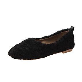 voordelige Damesschoenen met platte hak-Dames Platte schoenen Platte hak Ronde Teen Imitatiebont Herfst winter Zwart / Donker Bruin / Wit