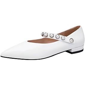 voordelige Damesschoenen met platte hak-Dames Platte schoenen Platte hak Gepuntte Teen Schapenleer Lente & Herfst / Zomer Zwart / Wit