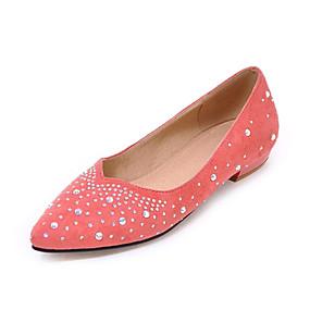voordelige Damesschoenen met platte hak-Dames Platte schoenen Lage hak Gepuntte Teen Strass Synthetisch Lente & Herfst Zwart / Rood / Roze / Bruiloft / Feesten & Uitgaan