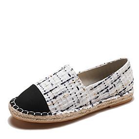 voordelige Damesinstappers & loafers-Dames Loafers & Slip-Ons Platte hak Ronde Teen Kwastje Canvas Lente & Herfst Zwart en Gold / zwart / wit / Wit  / Geel