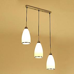 billige Hengelamper-HEDUO 3-Light Øy Anheng Lys Nedlys Antikk Messing Glass Glass Øyebeskyttelse, Takplafond 110-120V / 220-240V