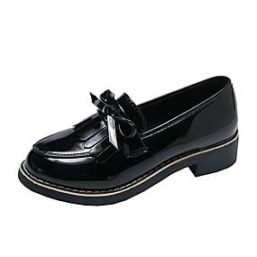 voordelige Damesinstappers & loafers-Dames Loafers & Slip-Ons Lage hak Ronde Teen Lakleer Lente & Herfst Zwart