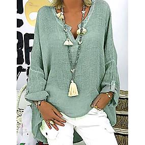 billige 8.8 SALE-V-hals Store størrelser Skjorte Dame - Ensfarget Grunnleggende Svart
