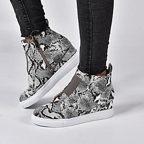 voordelige Damessneakers-Dames Sneakers Sleehak Ronde Teen PU Zomer Zwart / Bruin / Wijn