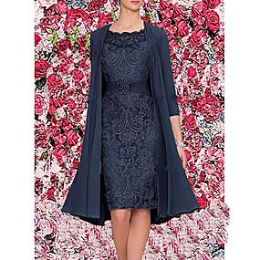 cheap US Explore Autumn Low-Key luxe-Women's Elegant Two Piece Dress - Solid Colored Wine Blue Gray M L XL XXL