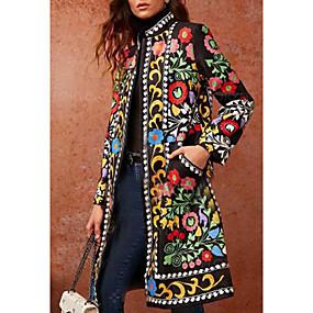 cheap US Explore Autumn Low-Key luxe-Women's Daily Basic Fall & Winter Long Coat, Geometric Stand Long Sleeve PU Green