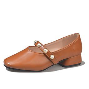 voordelige Damesinstappers & loafers-Dames Loafers & Slip-Ons Blok hiel Ronde Teen PU Zomer Zwart / Bruin / Beige