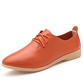 voordelige Dames Oxfords-Dames Oxfords Platte hak Ronde Teen Lakleer Herfst winter Zwart / Wit / Oranje