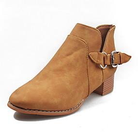 billige Mote Boots-Dame Støvler Lav hæl Rund Tå PU Ankelstøvler Høst vinter Mørkebrun / Grå / Kakifarget