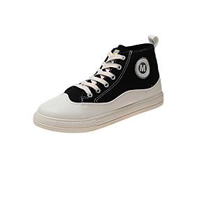 voordelige Damessneakers-Dames Sneakers Creepers Ronde Teen Canvas Korte laarsjes / Enkellaarsjes Zoet / Studentikoos Herfst winter Zwart / Oranje / Groen / Kleurenblok / leuze