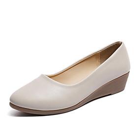 voordelige Damesschoenen met platte hak-Dames Platte schoenen Platte hak Ronde Teen PU Zomer Zwart / Beige / Khaki