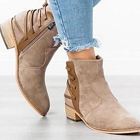 billige Mote Boots-Dame Støvler Flat hæl Rund Tå Semsket lær Ankelstøvler Høst vinter Brun / Mørkegrå / Lysegrå