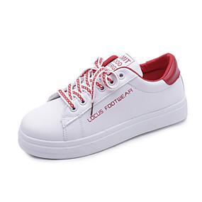 voordelige Damessneakers-Dames Sneakers Platte hak Ronde Teen PU Lente & Herfst / Winter Zwart / Groen / Rood