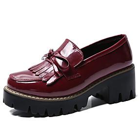 voordelige Damesinstappers & loafers-Dames Loafers & Slip-Ons Blokhak Ronde Teen PU Informeel / Brits Wandelen Lente & Herfst Zwart / Bordeaux