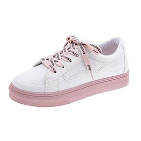 voordelige Damessneakers-Dames Sneakers Lage hak Ronde Teen Canvas Informeel / minimalisme Wandelen Lente & Herfst Zwart / Wit / Kleurenblok