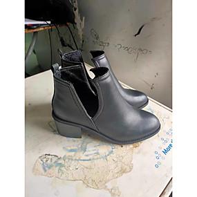 billige Mote Boots-Dame Støvler Tykk hæl Spisstå Blondesøm PU Ankelstøvler Fritid Gange Høst vinter Svart / Lysegul / Gul