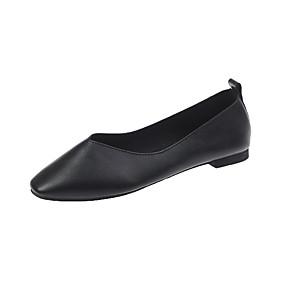 voordelige Damesinstappers & loafers-Dames Loafers & Slip-Ons Platte hak Vierkante Teen Leer Herfst Zwart / Geel / Rood