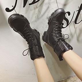 billige Mote Boots-Dame Støvler Flat hæl Rund Tå Nagle PU Ankelstøvler Britisk / Preppy Vår & Vinter / Høst vinter Svart / Leopard / Fargeblokk