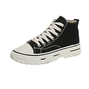 voordelige Damessneakers-Dames Sneakers Creepers Ronde Teen Canvas Zoet / Studentikoos Herfst Zwart / Wit / leuze
