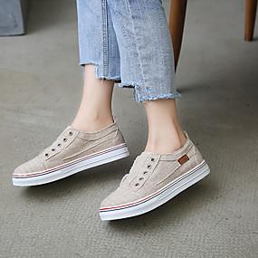 voordelige Damessneakers-Dames Sneakers Creepers Ronde Teen Gesp Canvas Klassiek / minimalisme Wandelen Lente zomer Wit / Blauw / Grijs