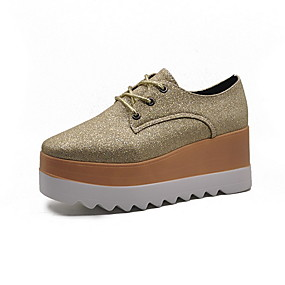 voordelige Dames Oxfords-Dames Oxfords Creepers Ronde Teen Canvas Zomer Zwart / Licht Roze / Goud