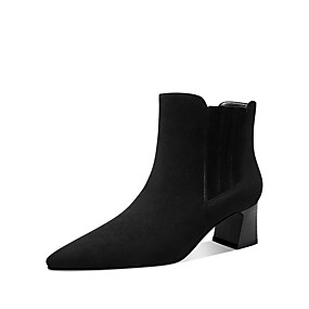 billige Mote Boots-Dame Støvler Lav hæl Rund Tå Semsket lær Vinter Svart / Kamel