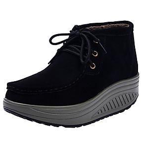 voordelige Damessneakers-Dames Sneakers Creepers Ronde Teen Suède Winter Zwart / Bruin / Donkerrood