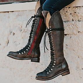billige Mote Boots-Dame Støvler Lav hæl Kvadratisk Tå PU Knehøye støvler Høst vinter Svart / Brun