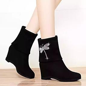 billige Mote Boots-Dame Støvler Skjult Hæl Rund Tå Dyremønster Sateng Støvletter Fritid Gange Høst vinter Svart