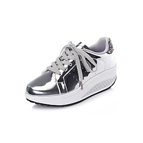 voordelige Damessneakers-Dames Sneakers Sleehak Ronde Teen PU Informeel / Studentikoos Lente zomer Goud / Zilver