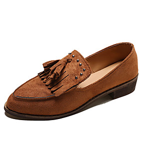 voordelige Damesinstappers & loafers-Dames Loafers & Slip-Ons Lage hak Gepuntte Teen PU Informeel Herfst Zwart / Donker Bruin