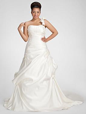 billige Kjoler med A-linje-A-linje Etskuldret Kapelslæb Satin Made-To-Measure Brudekjoler med Drapering / Pick Up-kjole / Blomst ved LAN TING BRIDE®