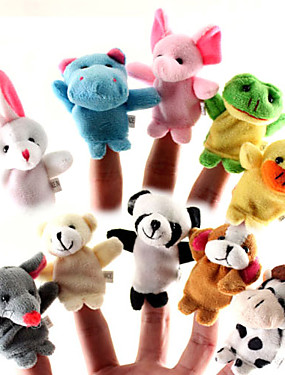 cheap Toys & Hobbies-For Bedtime Stories Animal Finger Puppets Puppets Cute Lovely Cartoon Textile Silicone Plush Girls' Toy Gift 10/12 pcs
