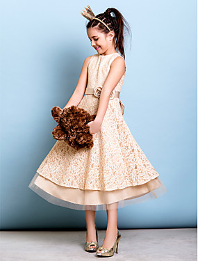 billige Bryllup & Eventer-A-linje Besmykket Telang Heldekkende blomsterblonder Junior brudepikekjole med Sløyfe(r) / Belte / bånd / Blomst av LAN TING BRIDE® / Naturlig