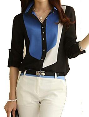 voordelige 70% OFF-Dames Informeel Grote maten - Overhemd Katoen Kleurenblok Overhemdkraag Zwart XL / Lente / Zomer / Herfst / Winter