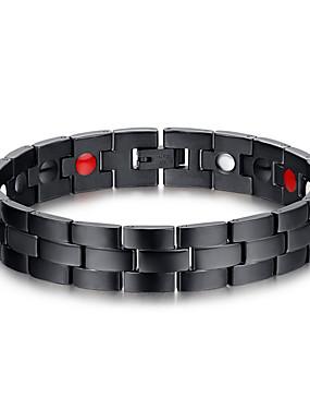voordelige ID Armband-Heren Armbanden met ketting en sluiting Roestvast staal Armband sieraden Zwart Voor Dagelijks Causaal