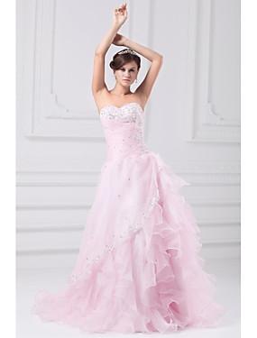 رخيصةأون فساتين قصة حرف A-A-الخط بدون حمالات ذيل مثل الفرشاة أورجنزا فساتين الزفاف صنع لقياس مع حصى / زينة / منتفض بواسطة LAN TING BRIDE® / Wedding Dresses in Color